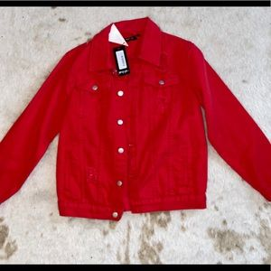 Red, distressed jacket